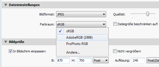 Farbprofile AdobeRGB sRGB